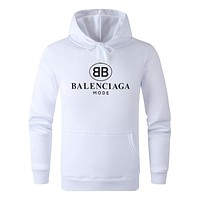 BALENCIAGA Fashion Casual Print Long Sleeve Hooded Sweater Top Sweatshirt White