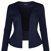 Fully Lined Collarless Tuxedo Blazer (CLEARANCE)