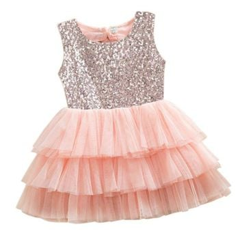 Newest Sequined Party Tutu Baby Girl Dresses With Big Bowknot Lace Wedding Princess Summer Dress