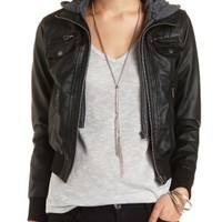 Convertible Faux Leather Bomber Jacket