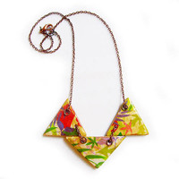 Autumn Leaves Geometric Necklace - Handmade Clay Triangle Necklace