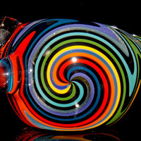 Rainbow in the Dark Wig Wag Spoon Bowl - Heady Colorful Glass Smoking Pipe Full Reversal Pattern - Vivid Colors & Sparkly Silver
