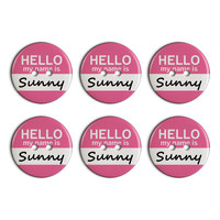 Sunny Hello My Name Is Plastic Resin Button Set of 6