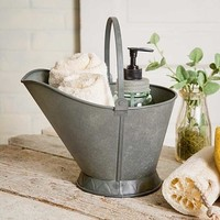 Vintage Inspired Metal Caddy for Bathroom. Coal Scuttle Design Container