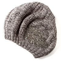 Marled Gray Beret with Hematite Seed Beads and Crystals Leaf Appliqué