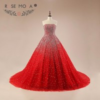 Rose Moda Luxury Bling Red Prom Dress Fully Beaded Puffy Prom Dresses 2018 Formal Party Dresses