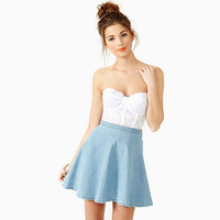 Blue Denim High-Waist Mini Skirt