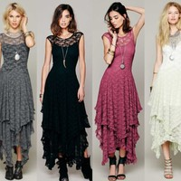Women Sheer Lace Party Casual Prom Evening Cocktail Slim Long Vintage Lace Dress