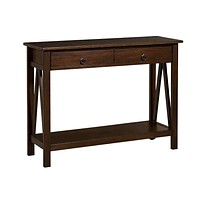 2-Drawer Console Sofa Table Storage Shelf in Tobacco Brown