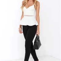 White Mesh Patchwork Strappy Top