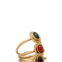 FOREVER 21 Antiqued Faux Stone Ring Set Gold/Green