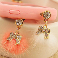1pcs of Bling Bowknot with Fur Ball Dust Plug  by AppleCellphone