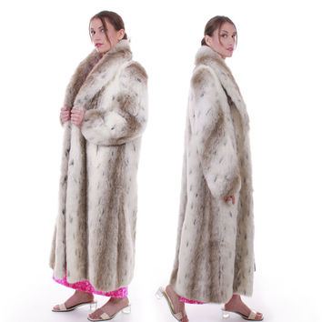 80s Vintage Snow Leopard Faux Fur Coat Full Length Oversized Retro Glam Spotted White Long Maxi Warm Winter Women Size Medium