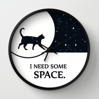 I need some space funny cat illustration with white stars and blue sky Wall Clock by Bad English Cat