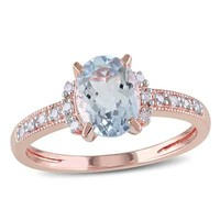Oval Aquamarine and Diamond Accent Ring in Rose Rhodium Plated Sterling Silver