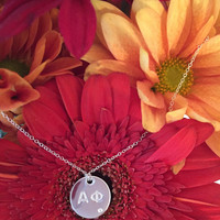 Alpha Phi Silver Antique Pavé Pendant Necklace, available in any sorority, other metals
