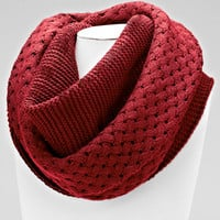 Basket Weave Red knitted Basket Scarf
