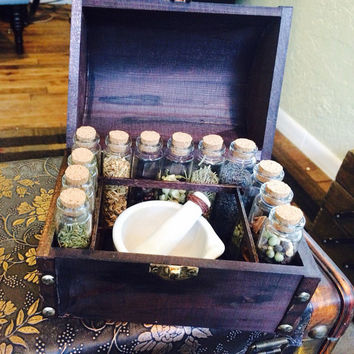 Herb, Mortar and Pestle, Alchemy WitchCraft Chest/Box