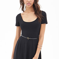 FOREVER 21 Belted Skater Dress