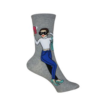 Selfie Crew Socks in Sweatshirt Gray