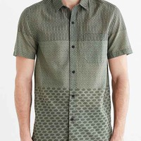 Koto Pattern Blocked Breezy Button-Down Shirt