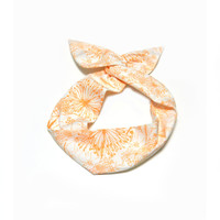 Peach Floral Wire Headband Dolly Bow Knot Headband by All Things in Color