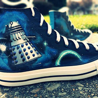Doctor Who Hand Painted Converse Canvas Lace Up High Top Shoes
