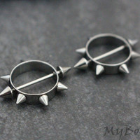 Spiky Nipple Rings 18G, Silver Nipple Piercings, Body Jewelry, Body Jewellery, 316L Surgical Stainless Steel, Barbell, Bar, Cones, Spikes