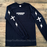 Starboy The Weeknd Black Long Sleeve Tee Shirt Distressed Lighting XO T-Shirt Legend of the Fall Tour Merch