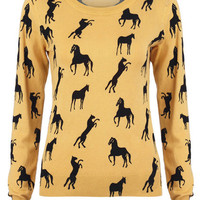 "ROMWE | Knitted ""Horses"" Yellow Jumper, The Latest Street Fashion"