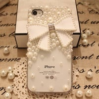 iPod 5 Case cute pearl bow HTC One X Case, bridal iphone 4 case wedding iphone cases ivory pearl phone covers i phone 5 cases i phone 3 case