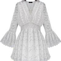 White V Neck Bell Sleeve Lace Ruffled A-Line Mini Skater Dress