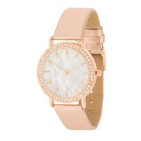 Rose Gold Leather Crystal and Shell Dial Watch