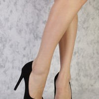 Black Marilyn Cut Out Pointed Toe Single Sole Pump High Heels Suede