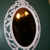 Chippy White Vintage Ornate Syroco Wall Mirror