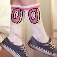 deals] Men Women brand odd future donuts wool cotton Long Socks fashion Hiphop Cotton Skateboard fixed gear stockings Sport meias Socks zkcuncle = 5988060417