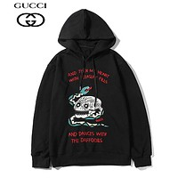 GUCCI fashion hit selling monoque embroidery casual hoodie Black