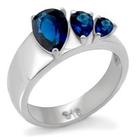 Blue Sapphire CZ Stainless Steel Ring