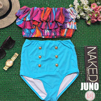 Juno - Retro Vintage Pin Up Handmade Turquoise Blue Orange Purple Abstract Ruffled Bandeau High Waist Bikini Swimsuit Swimwear