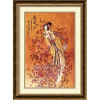 """32""""H x 24""""W Goddess of Prosperity Framed Print by Chinese Burnished Bronze"""