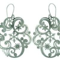 Lace Snowflake Design in Swirl Shaped Stainless Steel Dangle Earring