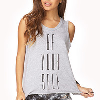 FOREVER 21 Stay True Muscle Tee Heather Grey/Black Large