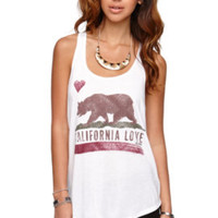 Billabong Flower Bear Racerback Tank - Womens Tee - White - Small