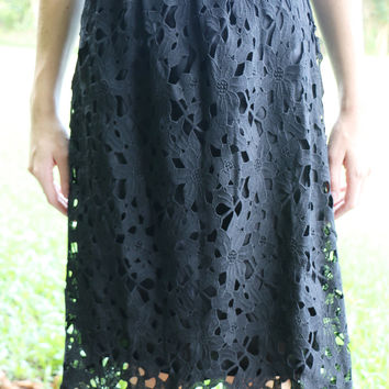 Midnight Eyelet Pencil Skirt - Only One Left!
