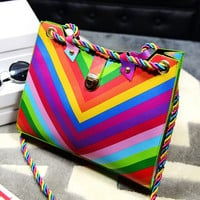 Handbag Rainbow Bag String Openings Rivet Candy Hit The Color Stripe Women Handbags Bolsa IMY66