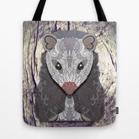 Ornate Opossum Tote Bag by ArtLovePassion