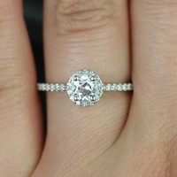 Amanda 5mm 14kt White Gold Round White Topaz and Diamonds Halo Engagement Ring (Other metals and stone options available)