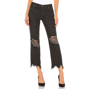 Free People Maggie Mid Rise Straight Leg Black