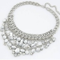 Silver Luxury Rhinestones Pendants Chunky Chain Necklaces Fashion Cheap Unique Jewelry for Women,100813