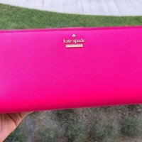 NWT Kate Spade Cameron Street Large Stacy Leather Bifold Wallet Pinkconfti